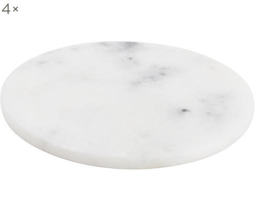 Marmor-Untersetzer Aster, 4 Stück, Marmor, Weiß, marmoriert, Ø 10 x H 1 cm