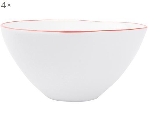 Ciotola Abysse, 4 pz., Porcellana, Bianco, rosso, Ø 15 x Alt. 7 cm