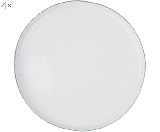 Piatti piani Abysse, 4 pz., Porcellana, Bianco, grigio, Ø 27 cm