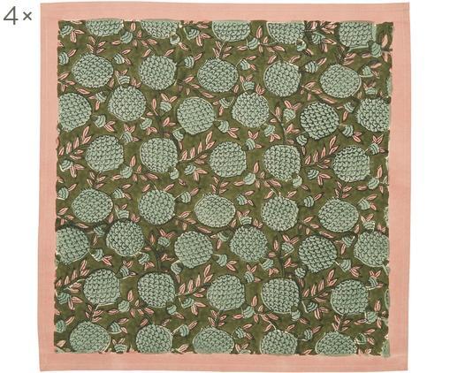 Tovagliette Pomegranate, 4 pz., Cotone, Rosa, verde scuro, verde, Larg. 45 x Lung. 45 cm