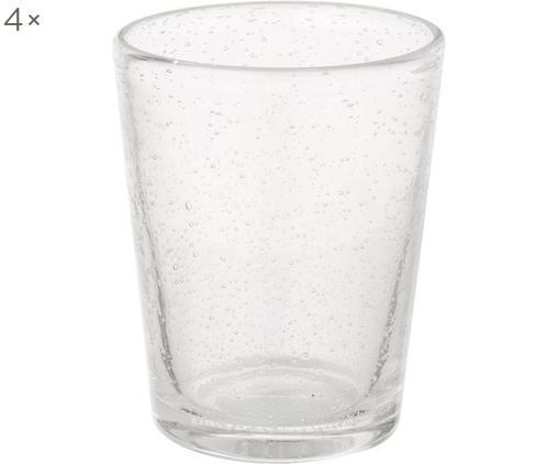 Bicchiere acqua in vetro soffiato Bubble 4 pz, Vetro soffiato, Trasparente con bolle d'aria, Ø 8 x Alt. 10 cm