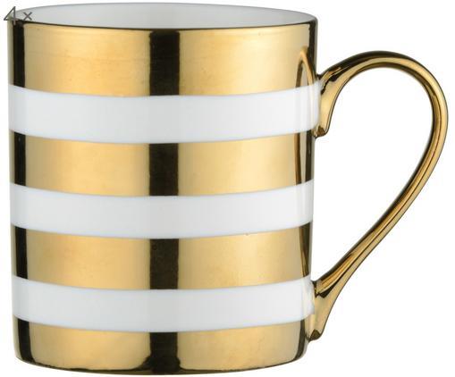 Tassen Stripes, 4 Stück, Porzellan, Weiß, Goldfarben, Ø 9 x H 10 cm