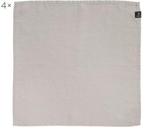 Leinen-Servietten Sunshine, 4 Stück, 50% Leinen, 50% Baumwolle, Aschweiß, 45 x 45 cm