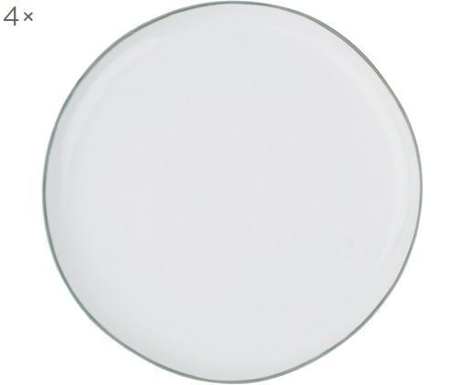 Piatto da colazione Abysse 4 pz, Porcellana, Bianco, grigio, Ø 21 cm
