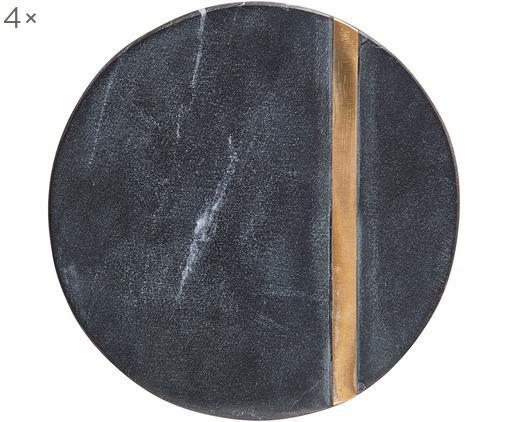 Steingut-Untersetzer Minta, 4 Stück, Untersetzer: Steingut, Streifen: Messing, Schwarz, Messing, Ø 10 cm