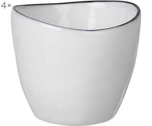 Portauova fatto a mano Salt 4 pz, Porcellana, Bianco latteo, nero, Ø 5 x Alt. 4 cm