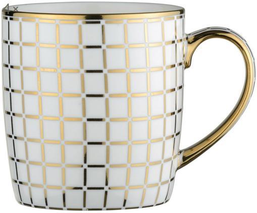 Set tazze Lattice, 4 pz., Porcellana, Bianco, dorato, Ø 9 x A 10 cm