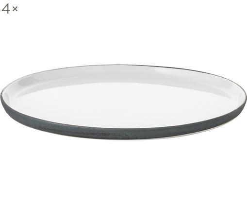 Assiettes plates faites à la main, émail/mat Esrum, 4pièces, Blanc ivoire, gris-brun