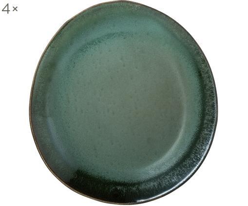 Handgefertigte Frühstücksteller 70's, 4 Stück, Keramik, Grün, Blau, Weiß, Ø 22 cm