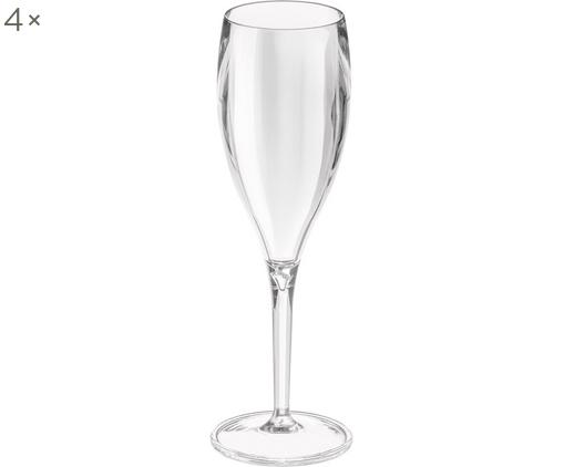 Flute champagne in materiale sintetico Cheers 4 pz, Materiale sintetico termoplastico (Superglass), Trasparente, Ø 6 x Alt. 19 cm