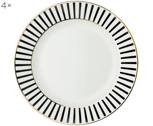 Assiettes à dessert Pluto Loft, 4 pièces, Noir, blanc