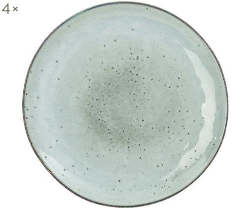Piatto da colazione Rustic 4 pz, Porcellana, Grigio chiaro, verde, Ø 20 cm