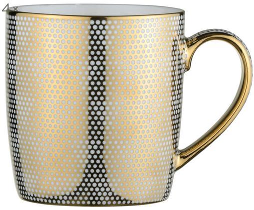 Tasses Dots, 4pièces, Blanc, couleur dorée
