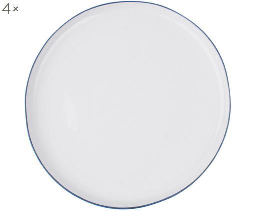 Speiseteller Abysse weiß/blau, 4 Stück, Porzellan, Weiß, Blau, Ø 27 cm