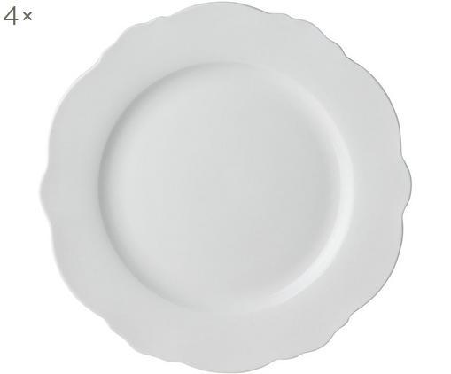 Frühstücksteller Muschel Loft, 4 Stück, Porzellan, Weiß, Ø 21 x H 2 cm