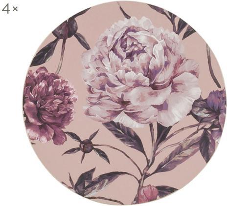 Sottobicchiere Secret Garden, 4 pz., Retro: sughero, Tonalità rosa, toni verdi, Ø 10 cm
