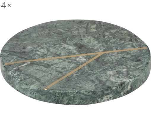 Marmor-Untersetzer Marek, 4 Stück, Marmor, Grün marmoriert, Goldfarben, Ø 10 x H 1 cm
