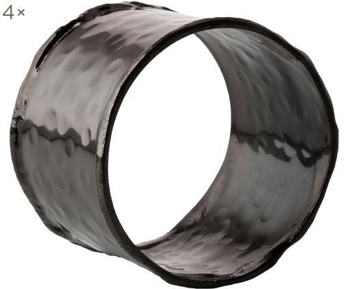 Portatovaglioli Julek, 4 pz., Ottone verniciato, Nero, Ø 5 cm