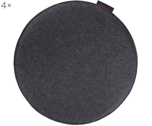 Runde Filz-Sitzauflagen Avaro, 4 Stück, Anthrazit, Ø 35 x H 1 cm