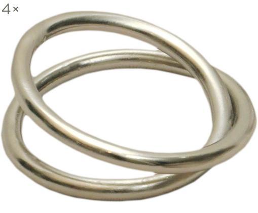 Portatovaglioli Deka, 4 pz., Metallo zincato, Nichel, Ø 5 x Alt. 2 cm