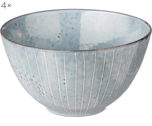 Handgemachte Schalen Nordic Sea, 4 Stück, Steingut, Grau- und Blautöne, Ø 15 x H 8 cm