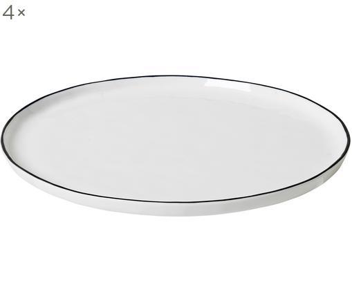 Handgemachte Speiseteller Salt, 4 Stück, Porzellan, Gebrochenes Weiß, Schwarz, Ø 28 cm