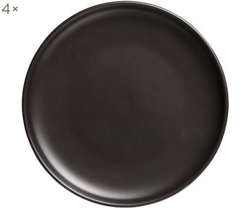 Assiettes plates Okinawa, 4pièces, Noir, mat