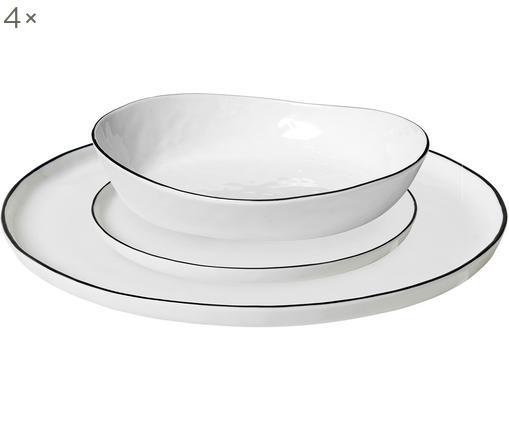 Service de table fait main Salt, 4 personnes (12 élém.), Blanc cassé, noir