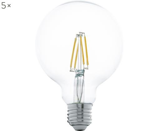 LED-Leuchtmittel Cord (E27 / 5Watt) 5 Stück, Leuchtmittelschirm: Glas, Leuchtmittelfassung: Aluminium, Transparent, Ø 10 x H 14 cm