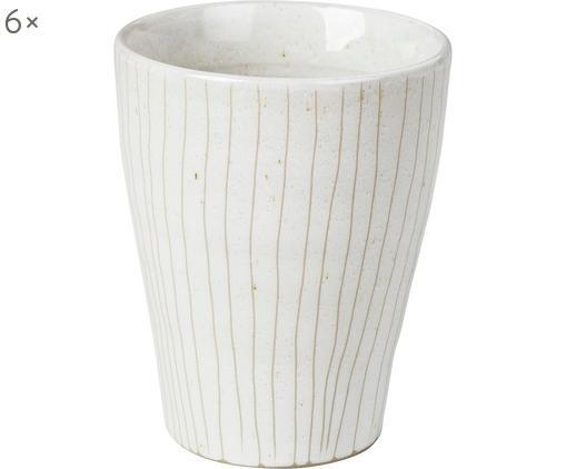 Handgefertigte Becher Copenhagen mit feinen Streifen, 6 Stück, Steingut, Elfenbein mit feinen hellbeigen Streifen, Ø 8 x H 10 cm