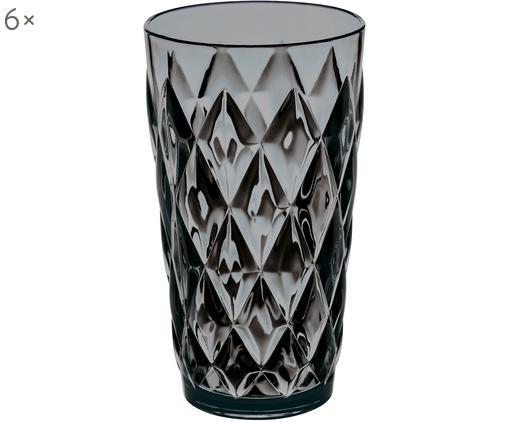 Bicchieri per l'acqua  in materiale sintetico Crystal, 6 pz., Materiale sintetico SAN senza BPA, Grigio trasparente, Ø 9 x A 15 cm