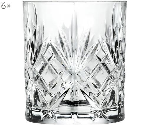 Vasos old fashioned de cristal Melodia, 6uds., Cristal, Transparente, Ø 8 x Al 9 cm