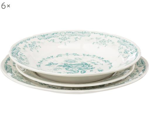 Servizio di porcellana Rose, 18 pz. (6 persone), Ceramica, Bianco, turchese, Diverse dimensioni