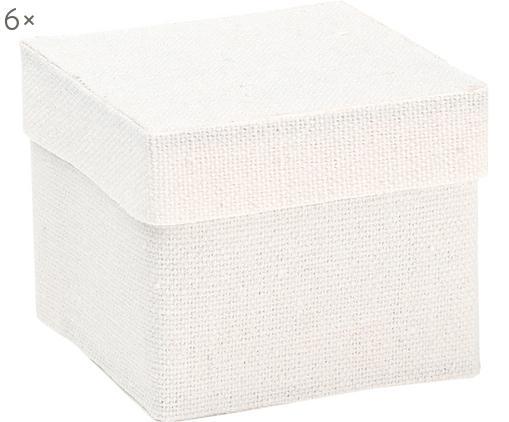 Geschenkboxen Square, 6 Stück, Baumwolle, Weiß, 5 x 5 cm