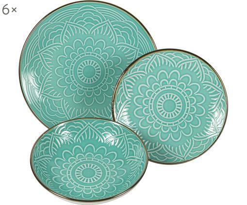 Service de table turquoise Baku, 6 personnes (18élém.), Turquoise