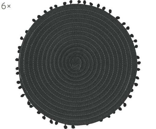 Runde Tischsets Mexico, 6 Stück, Baumwolle, Schwarz, Ø 38 cm