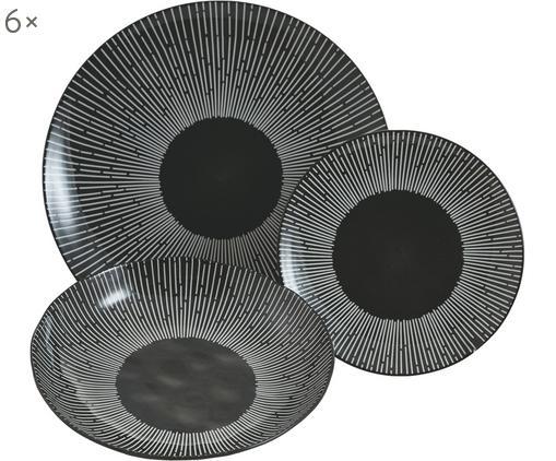 Service de table Mamba, 18élém., Noir, blanc