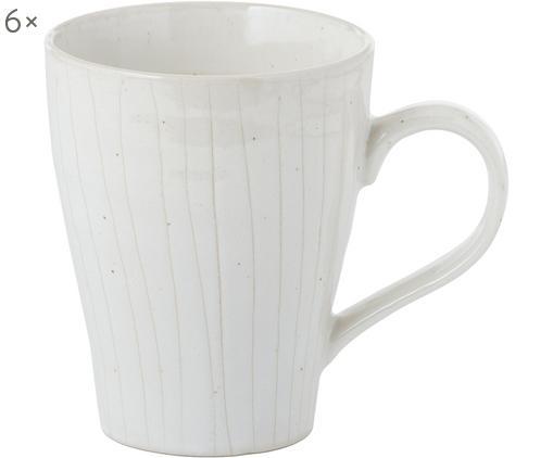 Tazza fatta a mano Copenhagen 6 pz, Gres, Avorio con sottili righe beige chiaro, Ø 12 x Alt. 11 cm