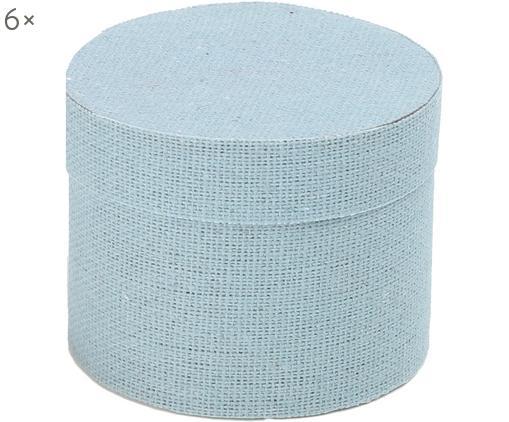 Geschenkboxen Round, 6 Stück, Baumwolle, Blau, Ø 5 cm
