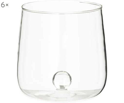 Bicchiere acqua in vetro soffiato Bilia 6 pz, Vetro borosilicato, Trasparente, Ø 9 x Alt. 9 cm
