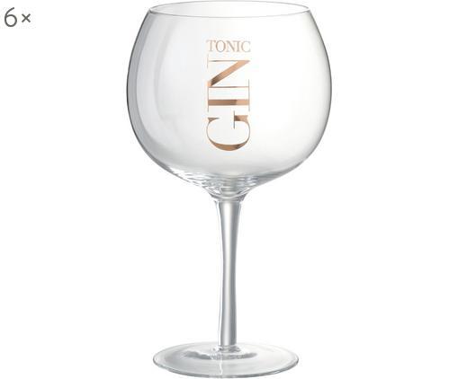 Verres gin tonic avec lettrage Gin, 6 pièces, Transparent, couleur cuivrée