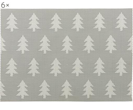 Set tovagliette Trees, 6 pz., Argento, bianco