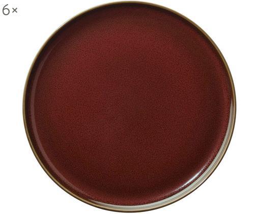 Piatto da colazione Kolibri, 6 pz., Porcellana, Rosso ruggine, marrone, Ø 20 cm