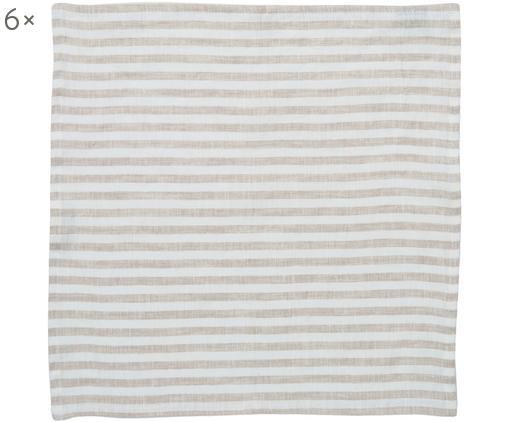 Tovaglietta americana in lino Solami 6 pz, Lino, Beige, bianco, Larg. 46 x Lung. 46 cm
