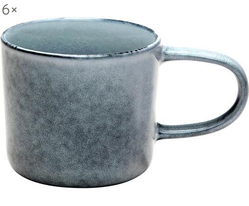 Tassen Relic, 6 Stück, Steingut, Blaugrau, Ø 9 x H 8 cm