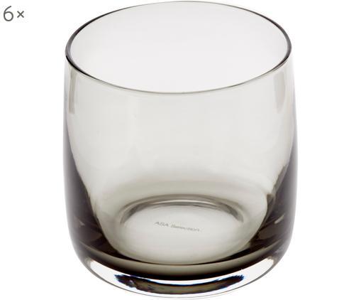 Handgefertigte Wassergläser Colored in Grau/Transparent, 6 Stück, Glas, Grau, transparent, Ø 8 x H 8 cm