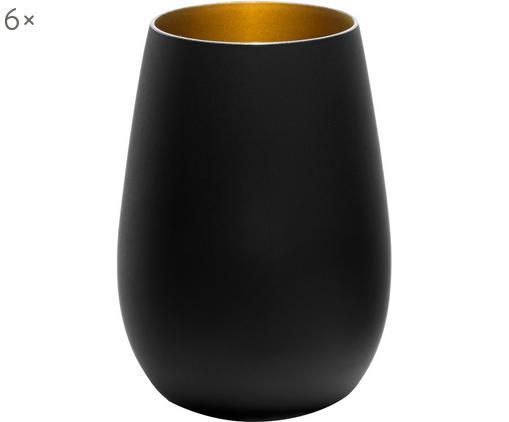 Verres à long drink en cristalnoir et doré Elements, 6pièces, Noir, couleur laitonnée