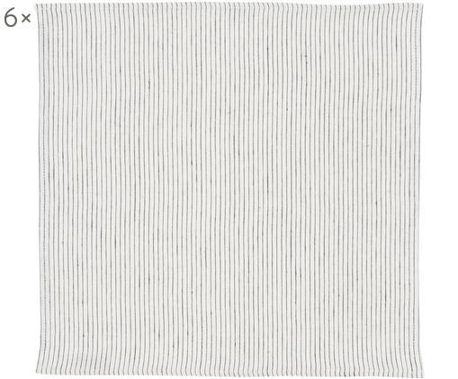 Tovagliolo di lino Svete 6 pz, Crema , nero, Larg. 43 x Lung. 43 cm