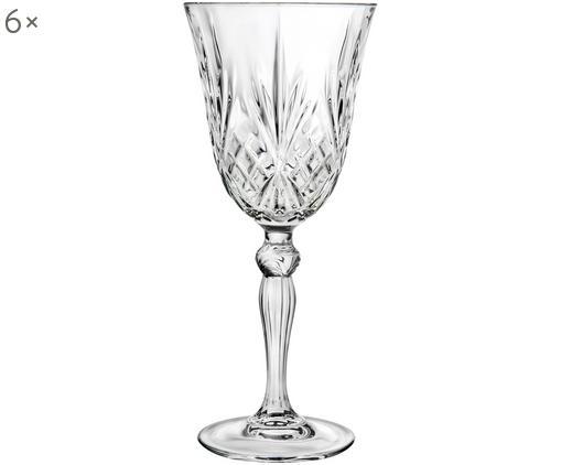 Kryształowy kieliszek do czerwonego wina Melodia, 6 szt., Szkło kryształowe, Transparentny, Ø 9 x W 20 cm
