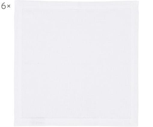 Tovaglioli in lino con bordo ricamato Alanta 6 pz, Candido, Larg. 42 x Lung. 42 cm